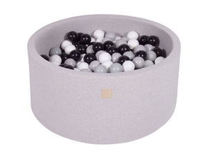 Grey Hand Stitched 90cm Round Foam Filled Jersey Ball Pit Pool (30cm or 40cm height) - 250 balls