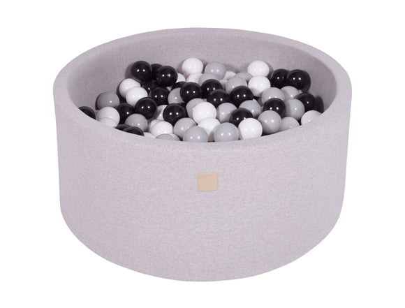 Grey Hand Stitched 90cm Round Foam Filled Jersey Ball Pit Pool (30cm or 40cm height) - 200 balls