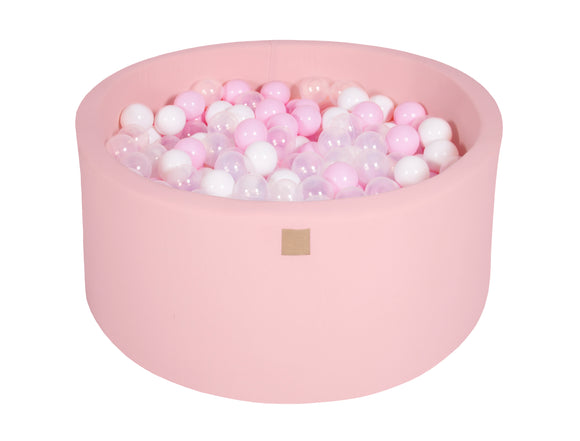 Pastel Pink Hand Stitched 90cm Round Foam Filled Jersey Ball Pit Pool (30cm or 40cm height) - 200 balls