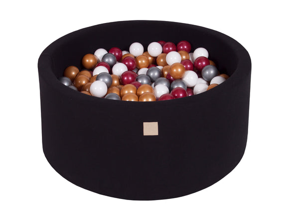 Glam Black Hand Stitched 90cm Round Foam Filled Jersey Ball Pit Pool (30cm or 40cm height) - 200 balls