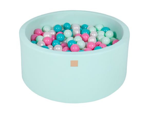 Mint Hand Stitched 90cm Round Foam Filled Jersey Ball Pit Pool (30cm or 40cm height) - 200 balls