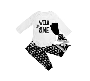 Wild one four piece set with shoes (0-12 months)