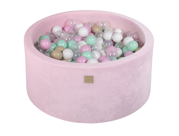 Pastel Pink 90cm Premium Plush Velvet Round Foam Filled Ball Pit Pool (40cm height) - 250 balls