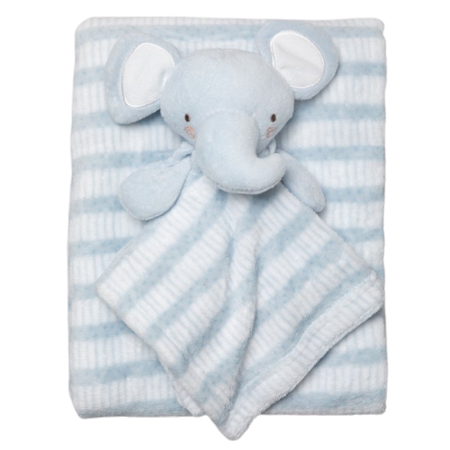 Plush Fleece Dusky Blue Stripe Blanket and Elephant Comforter