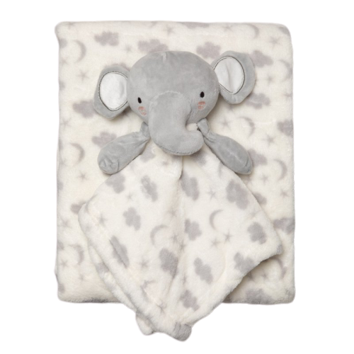 Plush Fleece Cloud Blanket and Unisex Elephant Comforter