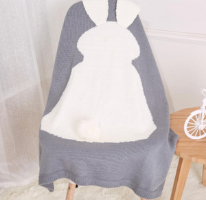 Grey Cot Blanket Bunny Rabbit design with Floppy Ears.