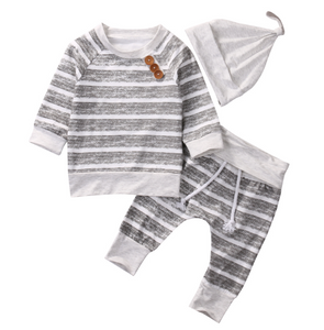 3 Piece Grey Breton Stripe Baby & Toddler Top Legging & Hat Set