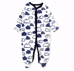 Cloud Baby Grow with Navy cloud
