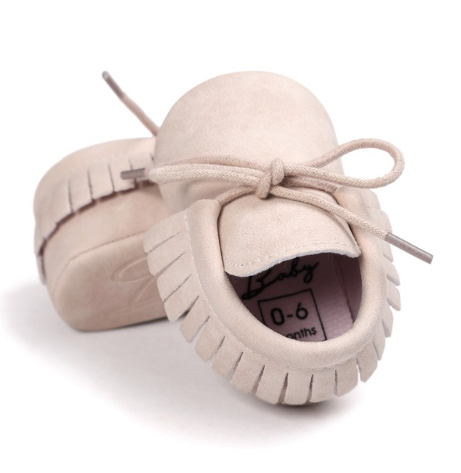 Beige Baby Tassle Moccasin Baby Shoes