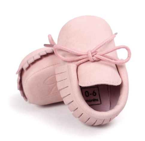 Pink Baby Tassel Mocassin Shoes