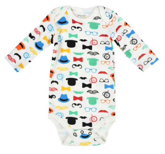 Clearance 0-3 months - Moustache, Hats & Clock Bright Top