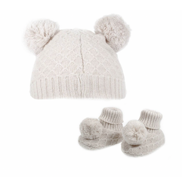 Beige Knitted Pom Pom hat and booties set (up to 6 months)