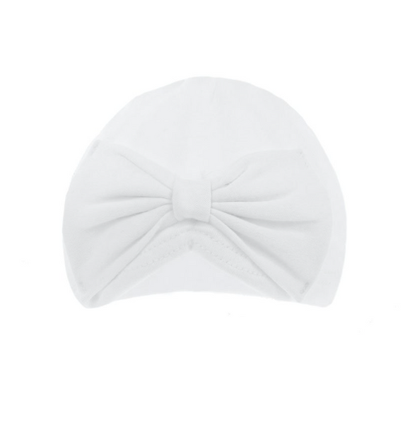 White head wrap turban with bow knot (0-6 months)
