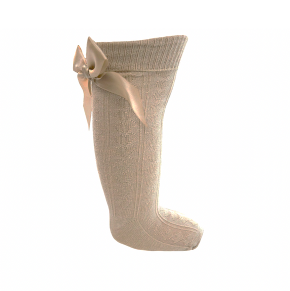 Nude knee length socks with satin bow (0-24 months)