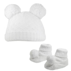 White Knitted Pom Pom hat and booties set (up to 6 months)