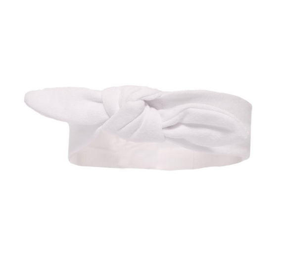 Babysoft white headband. Jersey cotton stretch. 0-2 years.