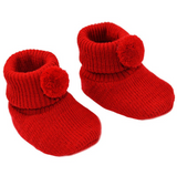 Red pom pom Christmas baby booties (newborn to 3 months)