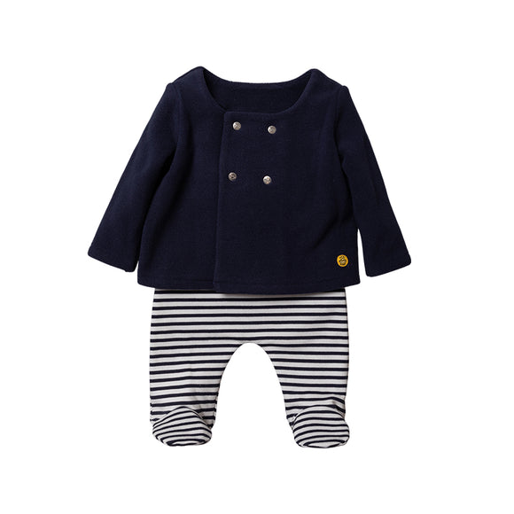 Breton fleece lined footed leggings with traditional fleece buttoned overcoat (0-9 months)