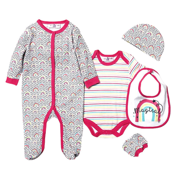 Rainbow and dotty sleepsuit, bodysuit, hat, bibs and mitts gift starter set (Newborn to 6 months)