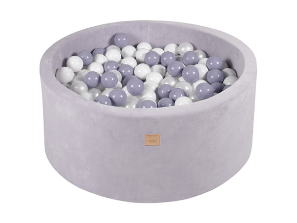 Grey 90cm Premium Plush Velvet Round Foam Filled Ball Pit Pool (40cm height) - 250 balls