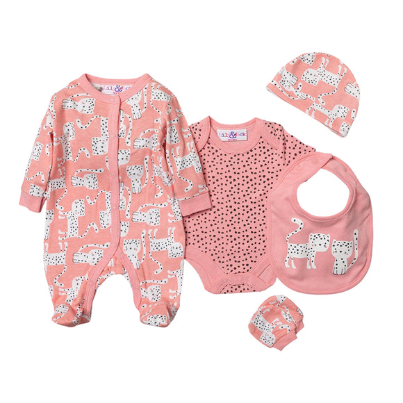 Dotty wild cat - sleepsuit, bodysuit, hat, bibs and mitts gift starter set (Newborn to 6 months)