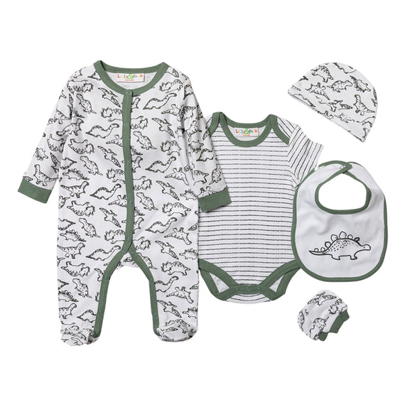 Stripey dinosaur, bodysuit, hat, bibs and mitts gift starter set (Newborn to 6 months)