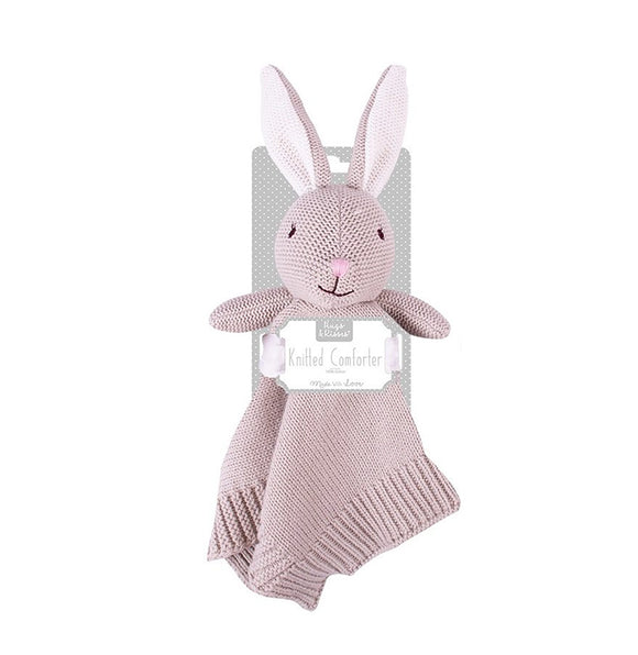 Rabbit knitted cuddly comforter - mink - gift toy