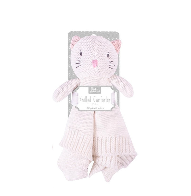 Cat knitted cuddly comforter - pink - gift toy