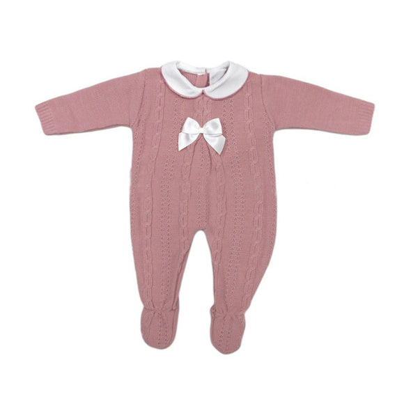 Dusky pink knitted peter pan collared cable knitted all in one (0-12 months)