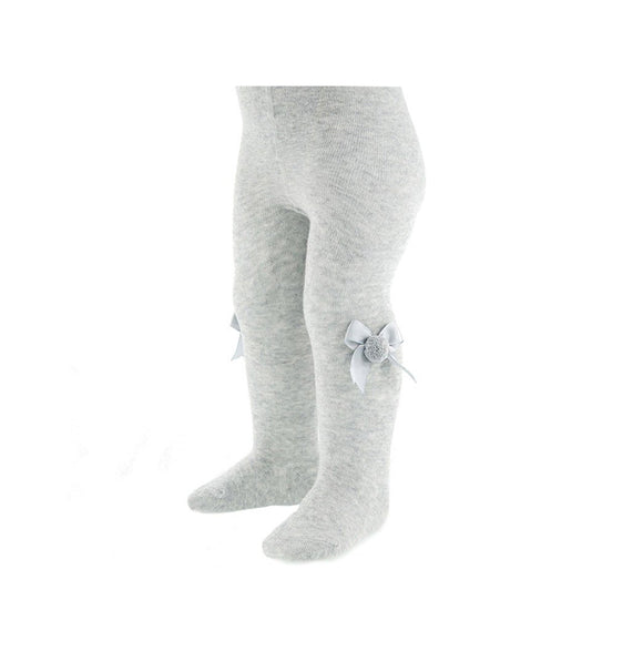 Grey bow and pom pom knitted tights (0-2 years)
