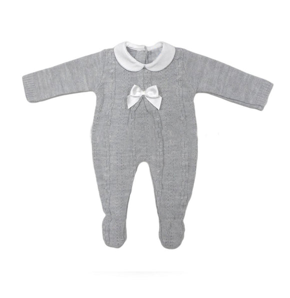 Grey knitted peter pan collared cable knitted all in one (0-12 months)