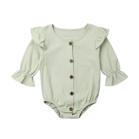 Olive green blouse style romper (0-2 years)