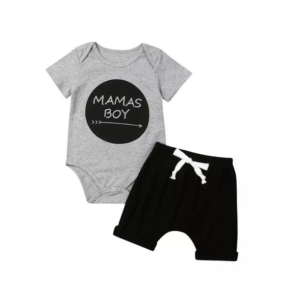 Mama's boy top and shorts boys set (0-24 months)