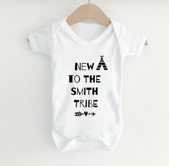 "Personalised ""New to the tribe"" white short sleeve bodysuit"