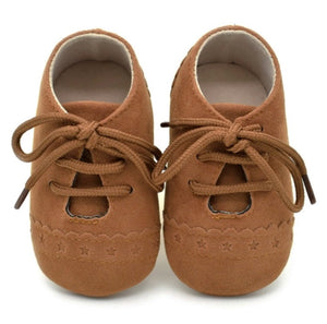 Tan Baby Suedette Brogue Shoes