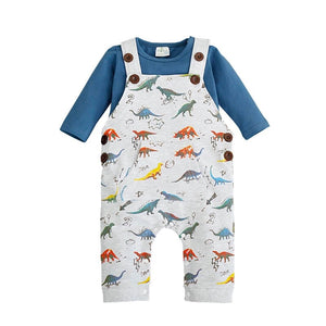 Two Piece Dinosaur Dungers and Teal T-shirt set