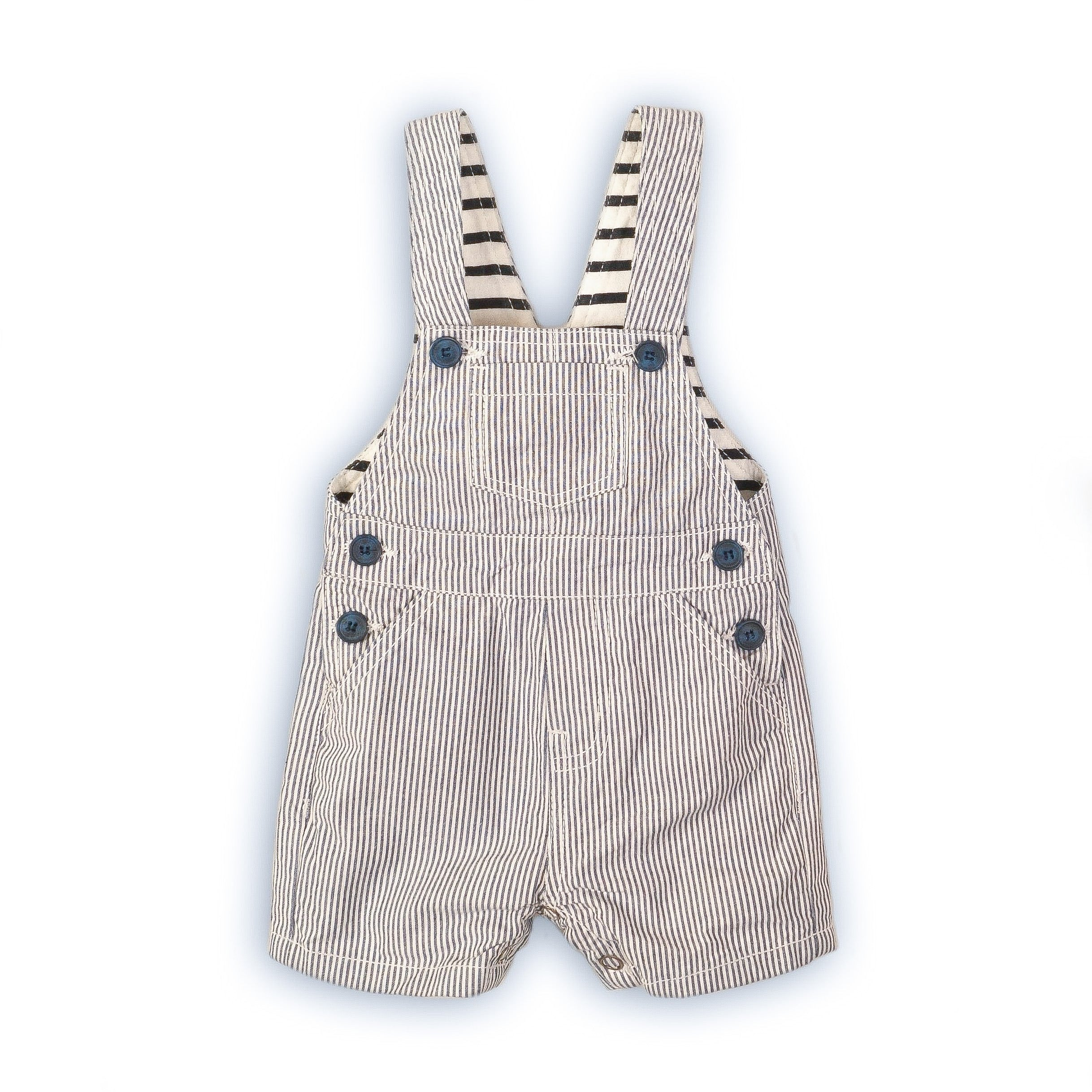 9-12 months - Seagull stripe bay dungarees