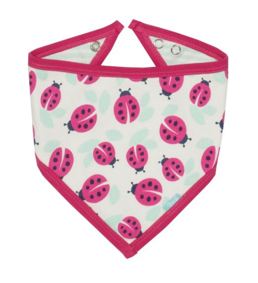 KITE GOTS certified organic cotton ladybird mint and pink bandana bib