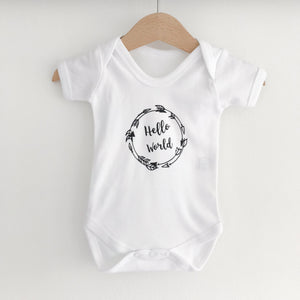 Hello World Arrow short sleeve white bodysuit