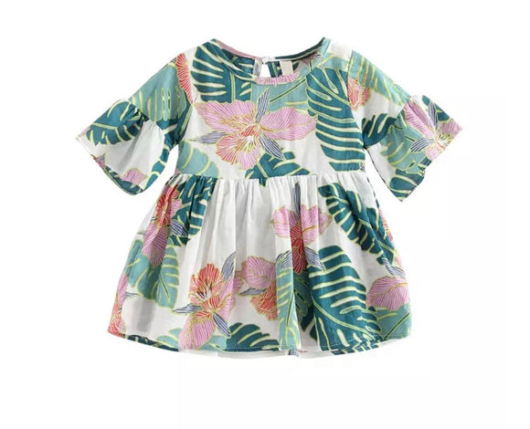Panama garden print summer sun smock dress