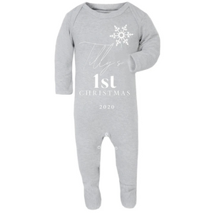 Grey Personalised My First Christmas Sleepsuit Romper (0 to 12 months)