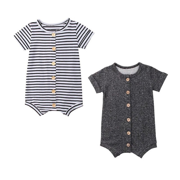 Unisex summer button up romper (3 to 18 months)
