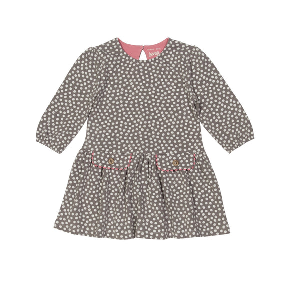 KITE organic cotton taupe dotty spotty dress