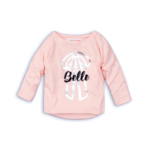 Belle and metallic bow print long sleeve top (9 months to 3 years)