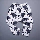 Geometric bear and triangle leggings with ankle cuffs (0-2 years)