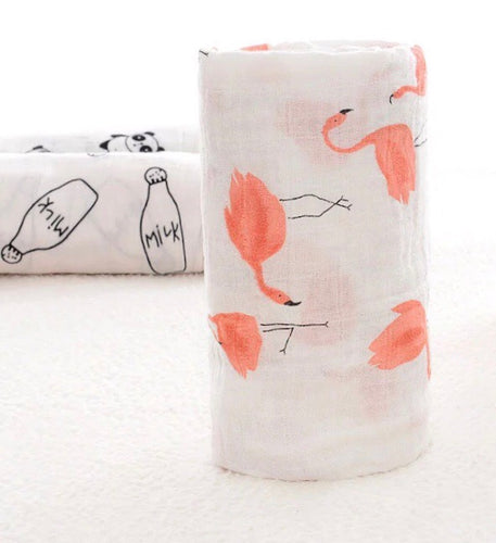 Extra large 120cm muslin pink flamingos swaddle blankets