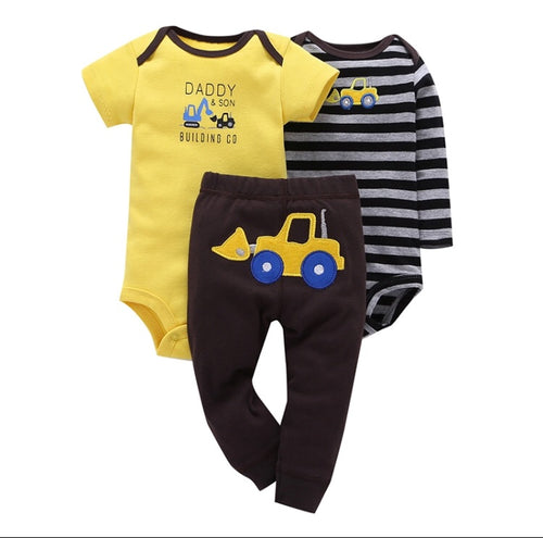 Little digger embroidered bottom 3 piece set (sizes 0 to 12 Months)