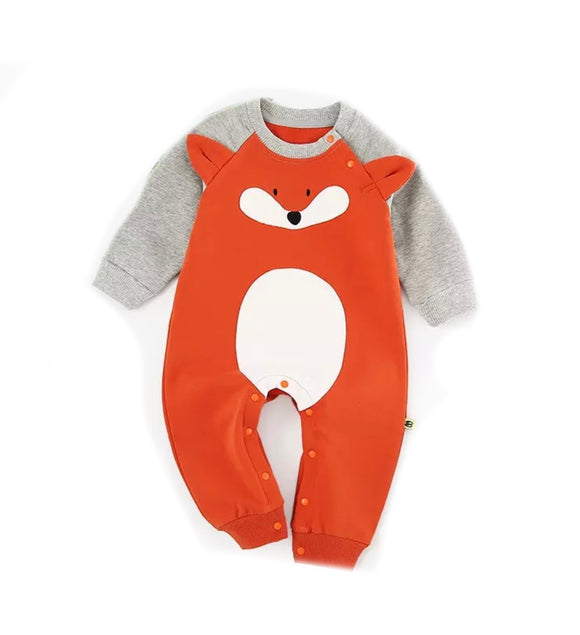 Fox footless romper (0-18 months)