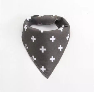 White taupe cross print fleece lined cotton dribble bib