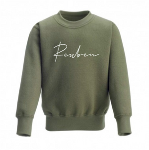 Personalised khaki long sleeve sweatshirt (0-3 years)